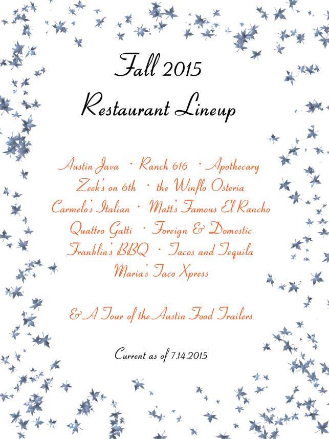 Fall 2015 Restaurant Lineup